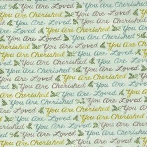 Large Image of the Moda Effies Woods Script Love Mint Fabric 56013 14