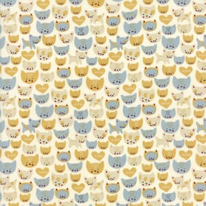 Moda Fabric Woof Woof Meow Here Kitty Kitty Aqua Cream