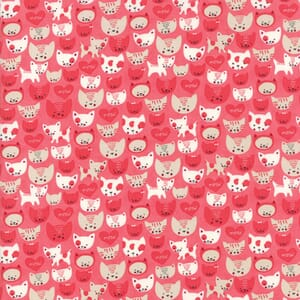 Moda Fabric Woof Woof Meow Here Kitty Kitty Pink