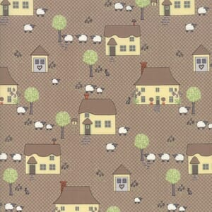 Small Image of Moda Fabric Cottontail Cottage Novelty Houses Cobblestone