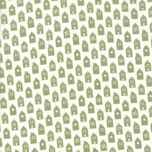 Moda Fabric At Home Houses Green