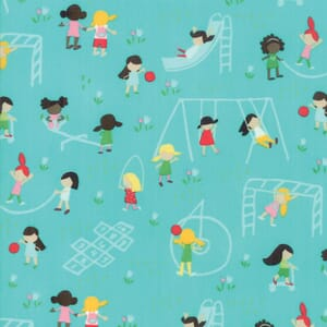 Large Image of Moda Fabric Best Friends Forever Playground Aqua