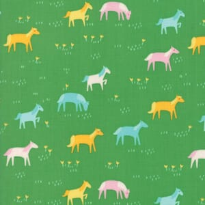 Large Image of Moda Fabric Best Friends Forever Rainbow Ponies Green