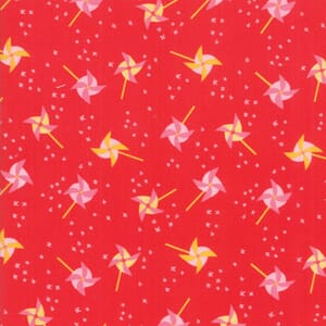 Large Image of Moda Fabric Best Friends Forever Blowing In The Wind Red