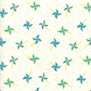 Large Image of Moda Fabric Best Friends Forever Blowing In The Wind White Aqua