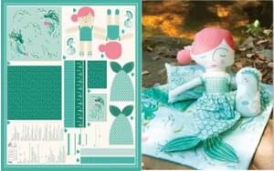 Small Image of Moda Fabric Coral Queen Of The Sea Panel