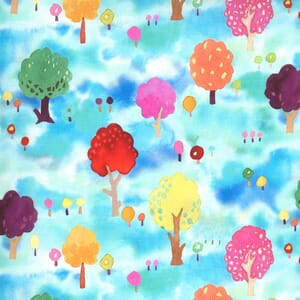 Moda Fabric Fanciful Forest Orchard Trees Turquoise 33572 14