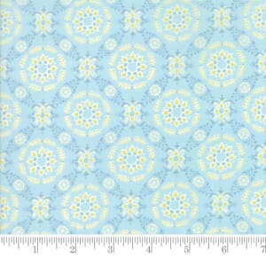 Small Image of Moda Fabric Fleurs Circle Lattice Bluebell
