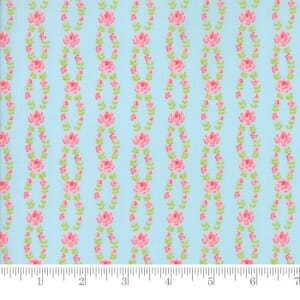 Small Image of Moda Fabric Fleurs Fleur Stripe Bluebell