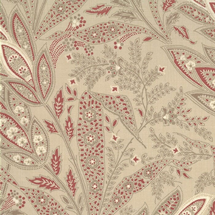 Moda Fabric French General Favourites Leaves Oyster