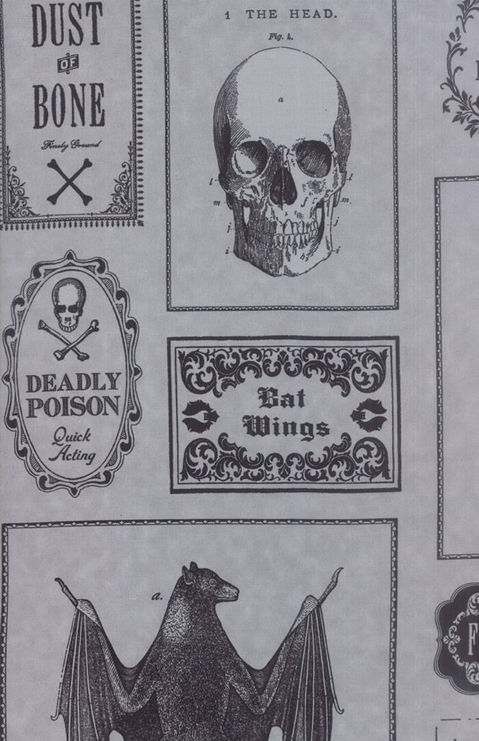 Moda Fabric Haunted Gala Apothecary Labels Grey and Black