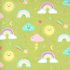 Moda Hello Sunshine Rainbows Grass