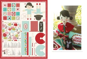 Small Image of Moda Fabric Lil Red Cut N Sew Doll Fabric Panel