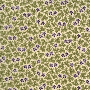Moda Mill Creek Garden Leaves and Flowers Ivory Green