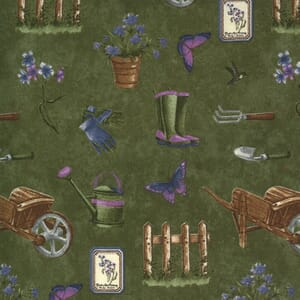 Moda Fabric Violet Hill Elements Gardening Moss 6821 12