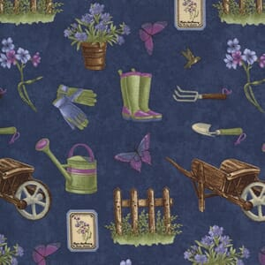 Moda Fabric Violet Hill Elements Gardening Eggplant 6821 16