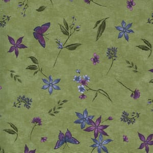 Moda Fabric Violet Hill Butterfly Floral Celery 6822 11