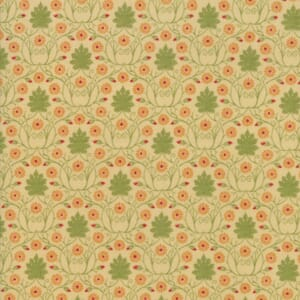 Large Image of Moda Fabric Voysey 2018 Parchment Scrolling Daisies 1900s Natural