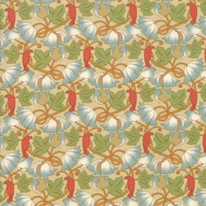 Large Image of Moda Fabric Voysey 2018 Parchment Perching Birds 1900 Natural