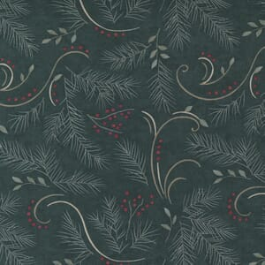 Moda Fabric Warm Winter Wishes Love And Hope Spruce Green 6832 13