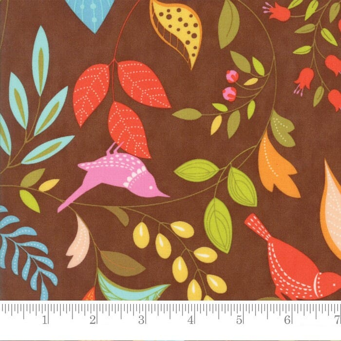 Moda Fabric Wing and Leaf Birds and Branches Chestnut