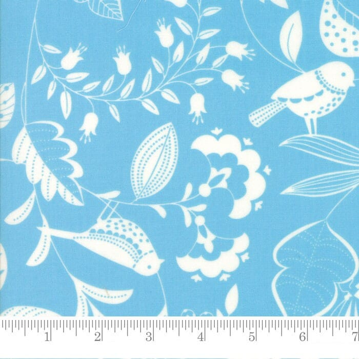 Moda Fabric Wing and Leaf Birds and Branches Periwinkle