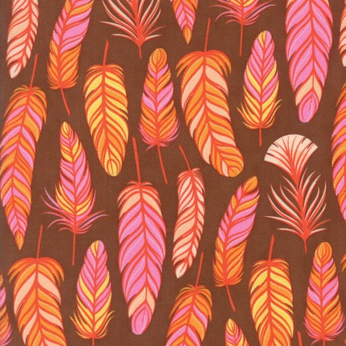 Moda Fabric Wing and Leaf Feathers Chestnut
