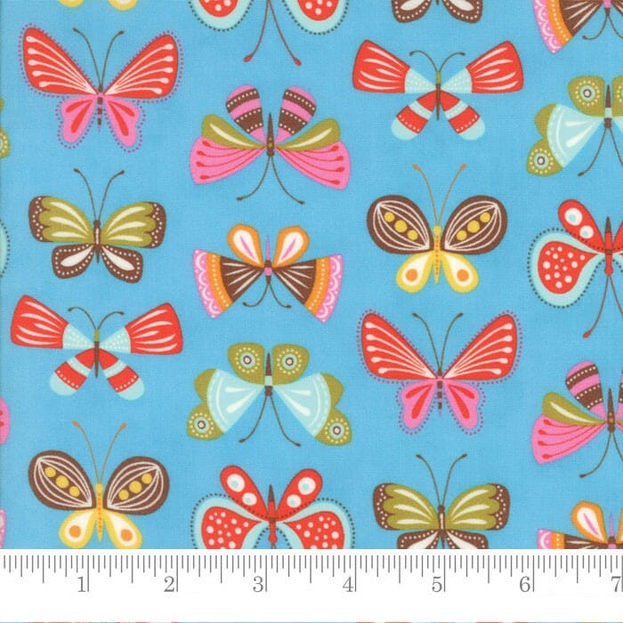 Moda Fabric Wing and Leaf Flutter Butterflies Periwinkle