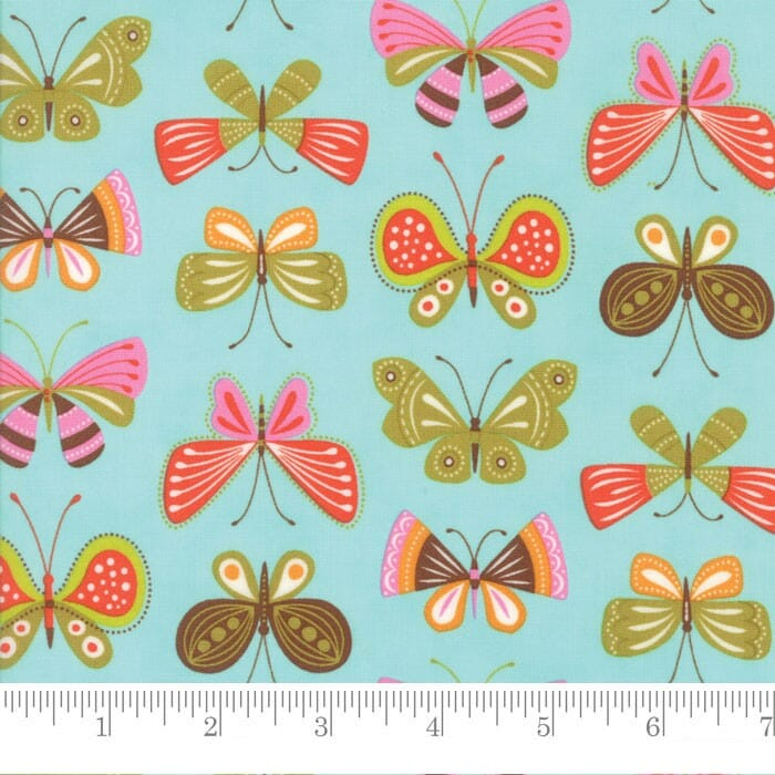 Moda Fabric Wing and Leaf Flutter Butterflies Robins Egg