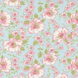 Small Image of the Moda Grace Romantic Roses Duck Egg Fabric 18720 16