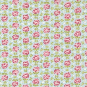 Small Image of the Moda Grace Honeycomb Posies Duck Egg Fabric 18721 16