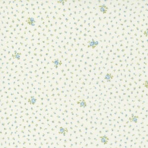 Small Image of the Moda Grace Sweet Floral Linen White Duck Egg Fabric 18724 15