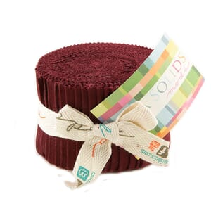 Moda Fabric Junior Jelly Roll Bella Solids Burgundy