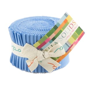Large Image of Moda Fabric Bella Solids Junior Jelly Roll 30s Blue