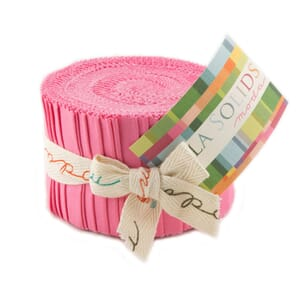 Large Image of Moda Fabric Bella Solids Junior Jelly Roll 30s Pink