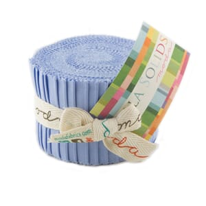Large Image of Moda Fabric Bella Solids Junior Jelly Roll Baby Blue