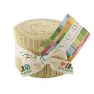 Large Image of Moda Fabric Bella Solids Junior Jelly Roll Parchment