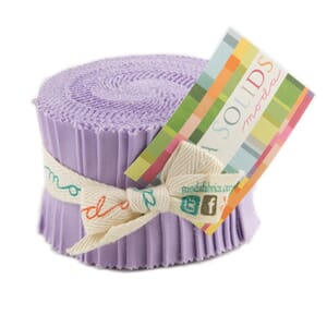 Large Image of Moda Fabric Bella Solids Junior Jelly Roll Lilac