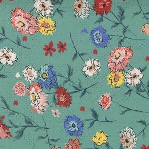 Small Image of the Moda Lady Bird Full Bloom Teal Fabric 11871 14
