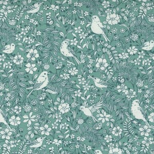 Small Image of the Moda Lady Bird Birdie Toile Teal Fabric 11873 14