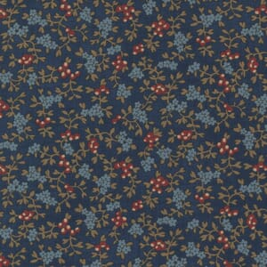 Large Image of the Moda Mary Anns Gift Berry Picking Indigo Fabric 31631 18