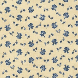 Large Image of the Moda Mary Anns Gift Biscuit Prairie Bloom Indigo Fabric 31634 13