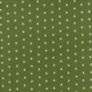 Large Image of Moda Fabric Merriment Holly Snowflakes Dark Green