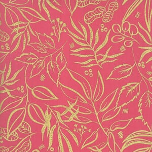 Moda Moody Bloom Metallic Leaf It To Me Fuchsia