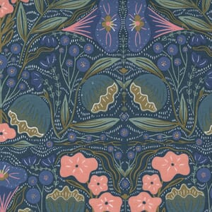 Large Image of the Moda Nocturnal Night Flowers Lake Fabric 48331 17