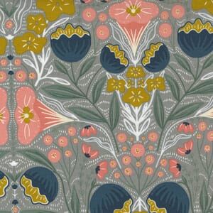 Large Image of the Moda Nocturnal Night Flowers Raincloud Fabric 48331 20