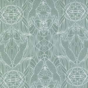 Large Image of the Moda Nocturnal Hidden Foxes Moss Fabric 48335 19