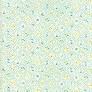 Small Image of Moda Fabric Home Sweet Home Garden Cameo Wallpaper Cream Aqua