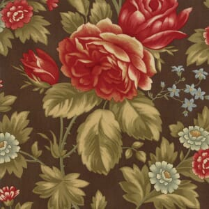 Large Picture of Moda Fabric Rosewood Rose Arbor Chocolate