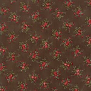 Large Picture of Moda Fabric Rosewood Spaced Bouquets Chocolate